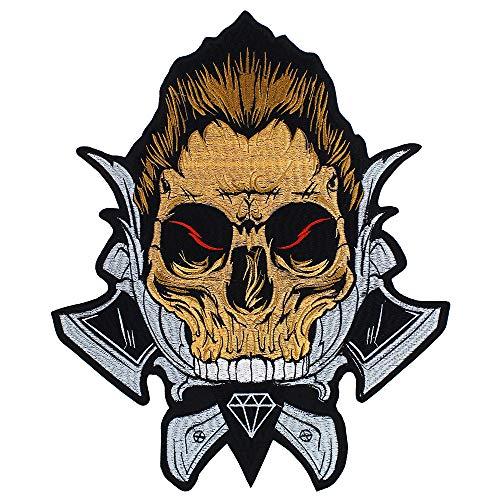 EMDOMO Großer Totenkopf Ax Punk-Patches zum Aufbügeln auf Jacke, Rückseite, Sticker, bestickte...