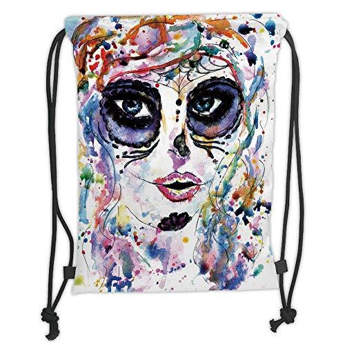ull Decor,Halloween Girl with Sugar Skull Makeup Watercolor Painting Style Creepy Decorative,Multicolor Soft Satin,5 Liter Capacity,Adjustable STR ()