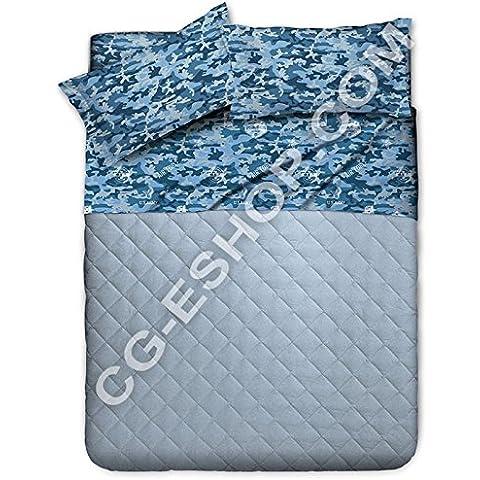 NOVITA'1 cama individual y paintball, diseño de camuflaje militar azul, variedad 1
