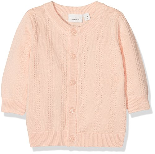 NAME IT Baby-Mädchen Sweatjacke Nbfgala LS Knit Card, Rosa (Peachy Keen), 80