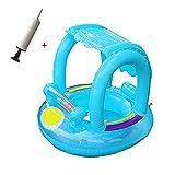 Xueliee Baby Schwimmhilfen Schwimmen Ring mit Sonnendach 0-3 Jahre Aufblasbares Kinderboot für Wasserspaß Familienspaß in See Meer Schwimmbad enthalten Manuelle Kompressor
