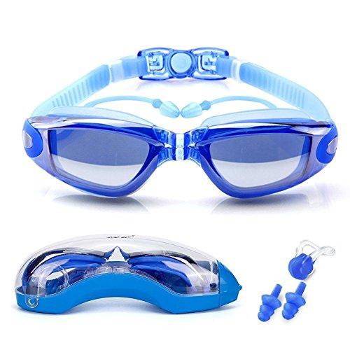 Acelec Schwimmbrille mit Ohrstöpsel zum Befestigen - 100 % hochwertiger UV-Schutz und Anti-Beschlag, geeignet für Damen, Herren, Kinder., blau