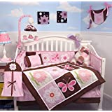 SoHo Sweetie Garden Tree Baby Crib Nursery Bedding Set 4 Pcs + 4 Pcs Diaper Bag Set (Total 8 Pcs Set) By SoHo Designs