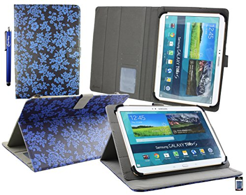 Emartbuy® Energy Sistem Neo 3 Lite Tableta PC 10.1 Pulgada Universal Serie ( 10 - 11 Pulgada ) Vendimia Floral Azul Ángulo Múltiples Ejecutivo Folio Carcasa Con Ranuras Para Tarjetas + Lápiz
