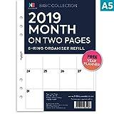 Nbplanner® 2019mois sur deux pages Planner Collection Basic English recharge pour organiseur Format A5