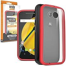 Orzly® FUSION Bumper Case for MOTOROLA MOTO E (Gen 2) - Funda Dura Cubierta Protectora con absorción de impactos ROJO goma Rim y completo transparente Panel posterior - Retail Embalado - Diseñado por Orzly, específicamente para su uso con el MOTOROLA MOTO E (2ª Generación) SmartPhone / Teléfono Móvil (2015 Modelo)