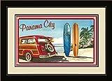 Northwest Art Mall ed-5743fgdm Bgr Panama City Florida Woodie Auto & Surfbretter, gerahmt Wand Kunst von Künstlerin Evelyn Jenkins Drew, 40,6x 55,9cm