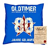 Geburtstagsgeschenk Männer Frauen : Oldtimer 80 : Kissen + Urkunde Geschenkidee Papa Mama Opa Oma Jahrgang 1938 Farbe:royal-blau