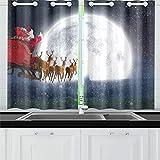JINCAII Babbo Natale in Sella a Una Slitta da Cucina Tende da Cucina Tende da Finestra per caffè, Bagno, Lavanderia, Soggiorno Camera da Letto 26 x 39 Pollici 2 Pezzi
