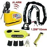 FD-MOTO 10mm x 1.8m Motorbike Chain Lock PadLock + 110db Alarm Disc Lock
