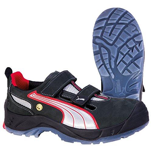 Puma Safety Shoes Comet Low S1 ESD SRC, Puma 640690-806 Unisex-Erwachsene Espadrille Halbschuhe Schwarz (schwarz/weiß/rot 806)