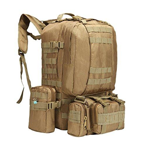 Zaino borsa combinata con 3molle smontabile Bags/militare, zaino militare, zaino militare, zaino militare, camouflage zaino, zaino tattico per campeggio, trekking 55L, Camouflage-3 Kaki