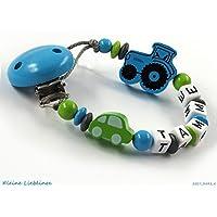 Schnullerkette mit Namen Junge Holz Auto Trecker bzw Traktor - blau - grün - grau - Baby Geschenk -