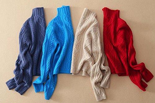 pull dhiver femmes col haut 100% pur pull en cachemire femelle épais chandail torsion motif fondant pull chaud 3