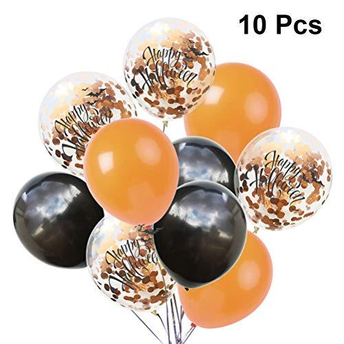 Amosfun 10pcs Happy Halloween Ballons Latex Pailletten Paillette Ballon Kit für Spukhaus Halloween Scary Theme Party Decor (Orange Schwarz)