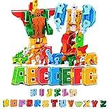 Dinosaurios Robot Juguetes, Robot Deformación, 26 Letras Transformar Figuras de Robot, Dinosaurio/Animales/Robots montados, para niños en Edad Preescolar