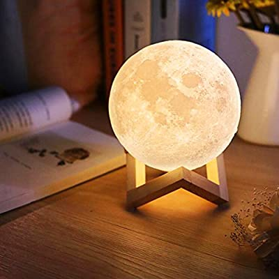 Dealbay Full Moon Lamp 3D LED Night Modern Floor Lamp Dimmable Touch Control Brightness USB Charging White/Warm Light Luna moon lamp With Stand 10cm by Dealbay