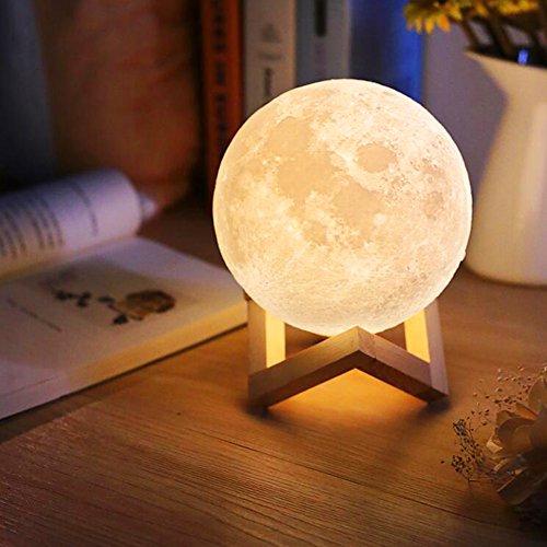 Mond Lampe Kinder Nachtlichter Kinderzimmer Touch-Steuerung Helligkeit LED 3d Mondlampe USB-Laden Tischleuchte Mondschein Lampe mit Holzständer