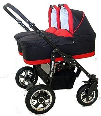 Carro gemelar 3 piezas. Capazos+sillas+grupo 0+accesorios. Negro+Rojo.