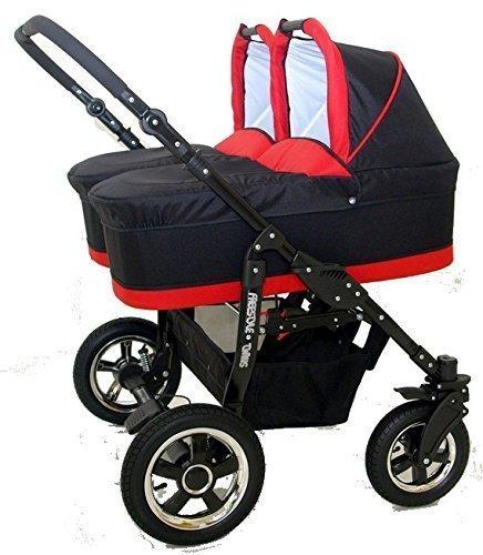 Passeggino gemellare, in 3pezzi, Composto da carrozzine + Passeggini + seggiolini Gruppo 0+ accessori, Nero e Rosso