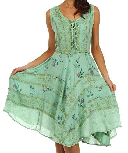 Sakkas 12311 Fairy Maiden Korsett Stil Kleid - Spearmint - S / (Kleid Renaissance Korsett)