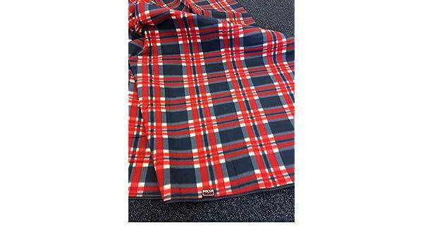 Polar Gear Premium Navy Check Fleece Picnic Blanket Rug 150 x 135cm