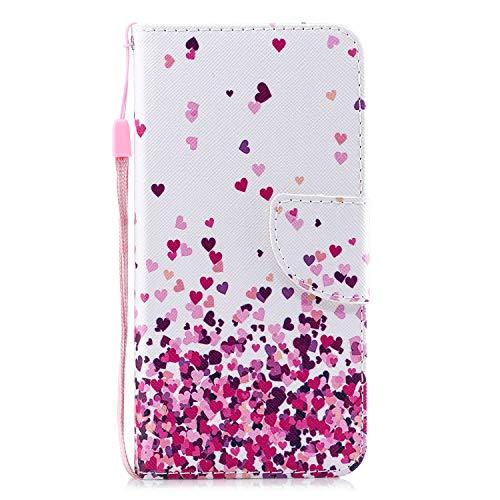 Kompatibel mit Xiaomi Mi 6, Herbests PU Leder Handyhülle Retro Wallet Case Flip Schutzhülle Leder Hülle Tasche Brieftasche Magnetverschluss Handytaschen Klapphülle,Pink Liebe Herz
