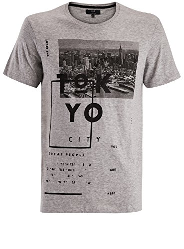 oodji Ultra Homme T-Shirt à Imprimé Style Urbain, Gris, FR 56 / XL