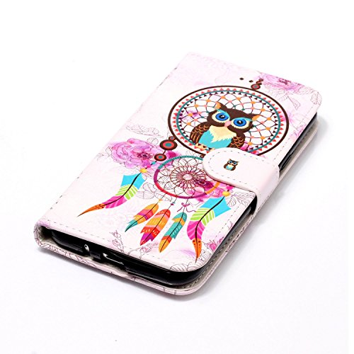 Coque Etui pour Galaxy J3 2016,Galaxy J3 2016 Coque Portefeuille PU Cuir Etui,Galaxy J3 2016 Coque de Protection en Cuir Folio Housse, iPhone 7 Leather Case Wallet Flip Protective Cover Protector, Uka Hibou Campanula
