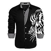 COOFANDY Men's Print Button Down Dress Shirt Fashion Long Sleeve Casual Shirts, Black 1, XX Large