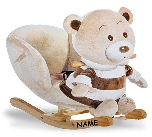 Unbekannt XL Plüsch und Holz Schaukelpferd incl. Name - Teddybär mit Einstieghilfe und Sicherheitsgurt - Schaukeltier Kind Schaukel Schaukelbär braun Tier Tiere Plüschs..
