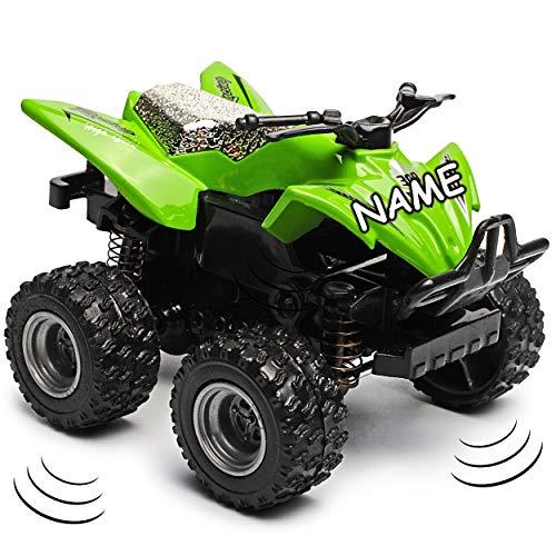 alles-meine.de GmbH 4 Stück _ Schwungrad Antrieb - Quad / ATV - grün - zum Aufziehen & Fahren - inkl. Name - bewegliche Räder - aus Metall & Kunststoff - Spielzeugquad - Auto / A.. - Schwungrad-auto
