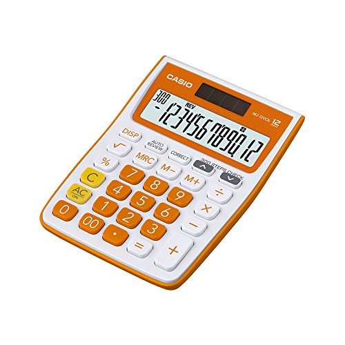 Casio MJ-12VCB-RG Desktop Calculator (White and Orange)