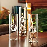 WANGLETA Haken Öllampe Kreative Transparente Glaszylinder Öl ist an die Ehe anstelle des Kerzenhalters verbunden. Complete Set (One Big Two Small)