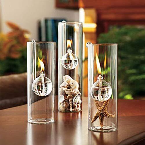 WANGLETA Haken Öllampe Kreative Transparente Glaszylinder Öl ist an die Ehe anstelle des Kerzenhalters verbunden. Complete Set (One Big Two Small) (Glaszylinder Für öllampe)