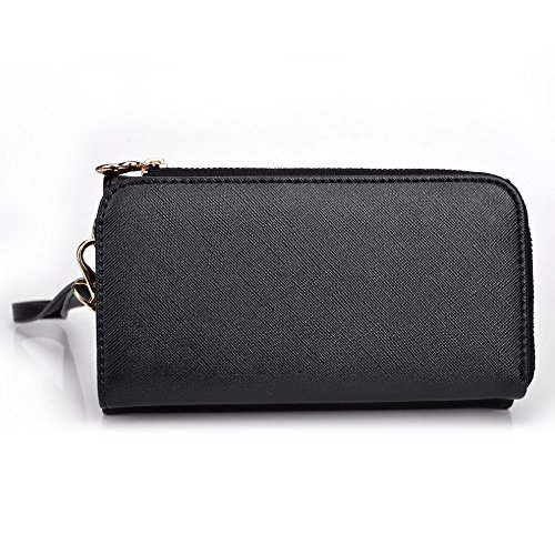 Kroo d'embrayage portefeuille avec dragonne et sangle bandoulière pour Blu Studio 5.0C Green and Pink Black and Violet