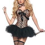 Damen Burlesk Katze Kostüm – Damen Leopard Korsett+Tutu Kostüm Outfit EUR(36-38) L