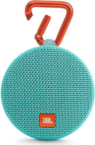 JBL Clip 2 - Altavoz Bluetooth Portátil Resistencia al Agua con Batería Recargable, Sistema Manos Libres y Cable de Audio de 3,5mm Integrado - Turquesa
