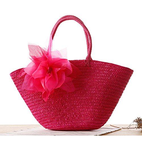 Mefly Il Coreano Filato Intrecciato Di Fiori Di Seta E Fiori Pastorale Sacchetto In Tessuto Fashion Borsetta Borsa Da Spiaggia Paglia Colorata Senza Fiore Plum red
