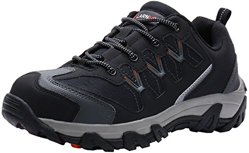 LARNMERN Safety Boots Mens,LM-1611 Steel Toe & Midsole Work Shoes Reflective Stripe Industries and Construction Shoes- Gr. EU 44 (27 cm), Dunkelgrau