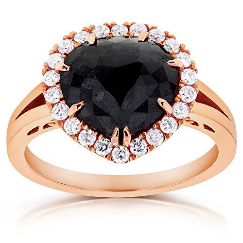 Black Diamond cut Rose-Anello di fidanzamento Halo, stile 2, 3, 4 CTW in oro rosa, 14 k, Oro rosa, 11, cod. 71165X_6.0