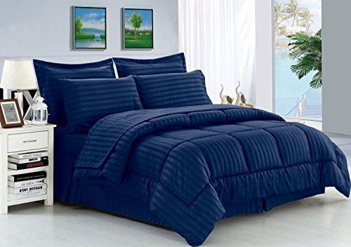 Eleganten Komfort knitterfrei-seidig weich Dobby Stripe Bed-in-a-Bag 8-teilig Tröster Set--Hypoallergenic-Full/Queen, Navy blau -