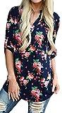 Shmily Girl Donna Maniche Lunghe Maglia Casual con Cut Out sullo Scollo T-Shirt V-Scollo Monocolore Classico (Fiore (Blu Marino), IT 46/EU 42/L)