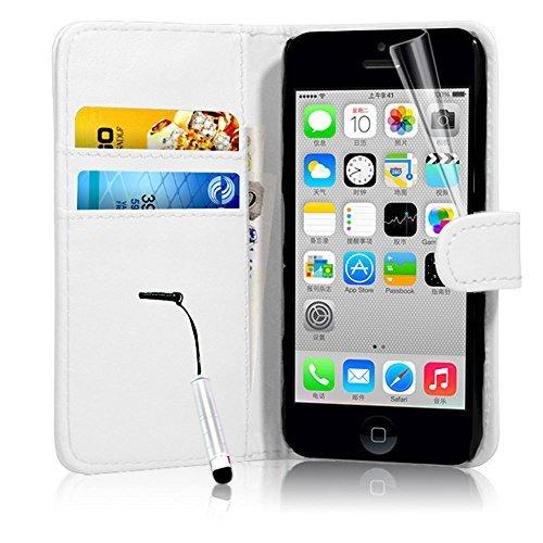 Connect Zone iPhone 5/5G/5S/SE haute qualité PU étui rabat portefeuille cuir Pochette + Protège Écran + Chiffon De Polissage Et Stylet - Blanc Portefeuille A Clapet, iPhone 5/5G/5S/SE