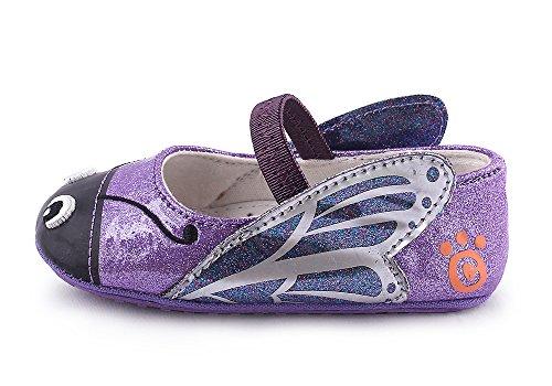 Sapatos Cartoonimals Bebê, Menina, Bebé Recém-nascido Macios Crianças Antiderrapantes Sapatos Borboleta Roxa