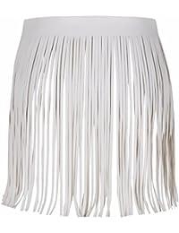TiaoBug Femme Mini Jupe à Frange en Cuir Jupe Courte avec Ceinture  Ajustable Accessoire de Vêtement 0411bfb4fc1