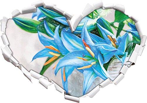 schöne blaue Blumen im Körbchen Kunst Buntstift Effekt Herzform im 3D-Look , Wand- oder...