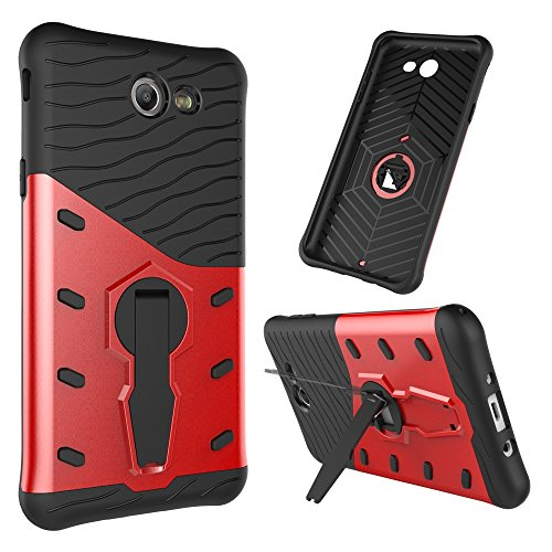 Für Samsung Galaxy J7 2017 Case Tough Hybrid Heavy Duty Shock Proof Defender Cover Dual Layer Armor Combo Mit 360 ° Swivel Stand Schutzhülle Fall ( Color : Silver ) Red