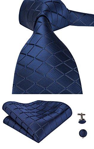 Hi-Tie, Seiden-Krawatte für Herren mit Manschettenknöpfen und Taschentuch Gr. One size, Blau kariert (Seidenkrawatte Designer Italienische)