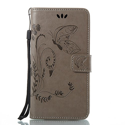 Solid Color Faux Leder Bookstyle Brieftasche Stand Case mit geprägten Blumen & Lanyard & Card Slots für LG G6 ( Color : Coffee ) Gray